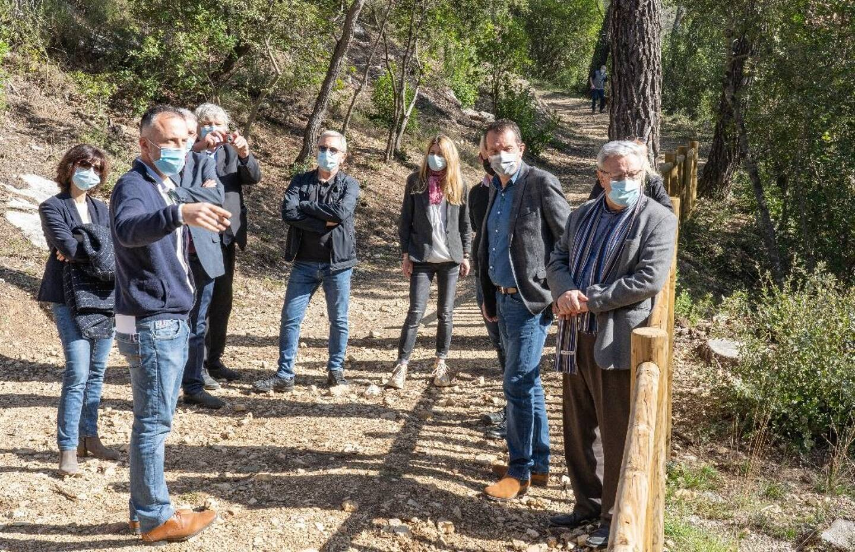 L'inauguration de la passerelle dans le prolongement de la voie romaine faisait également partie du programme de la venue à Figanières des équipes de Dracénie Provence Verdon agglomération.