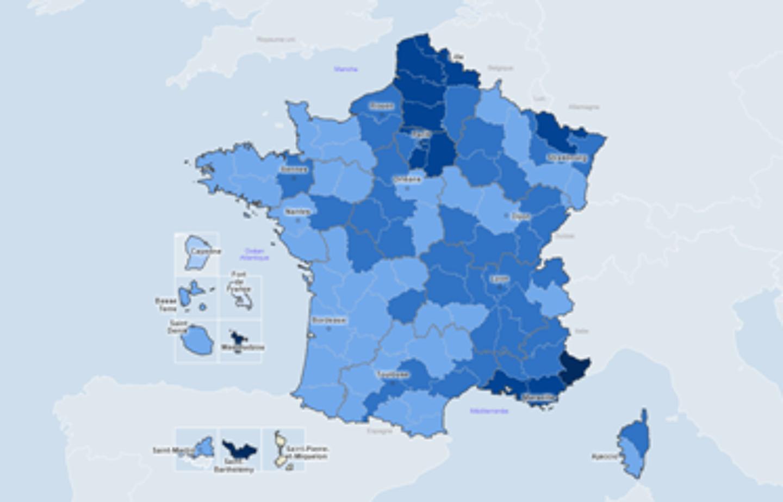 La carte du taux d'incidence hebdomadaire, au 21 février.