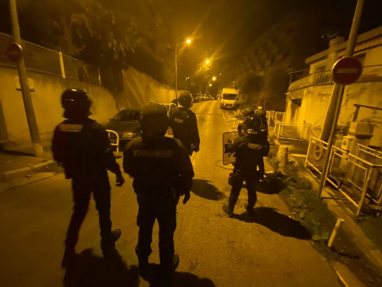 Le Peloton de surveillance et d'intervention (Psig Sabre) intervenant dans le quartier du Manoir à l'Ariane, à Nice.