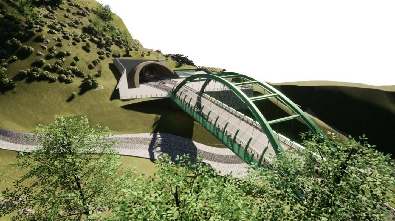 Le projet de pont entre la sortie des deux tunnels et la RD 6204.