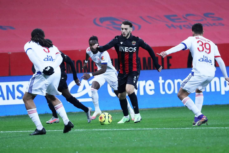 Amine Gouiri avec l'OGC Nice, contre son club formateur, l'Olympique Lyonnais.