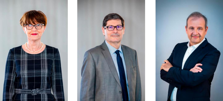 De gauche à droite: Andrée Samat, présidente de 2009 à 2021 du Crédit Agricole Provence Côte d'Azur; Christian Moutte qui lui succède et José Santucci, directeur général.