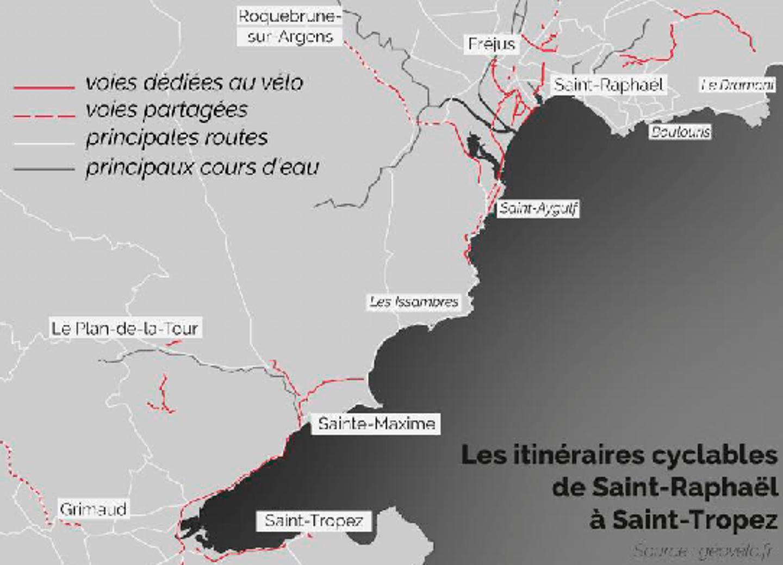 Les itinéraires cyclables de Saint-Raphaël à Saint-Tropez.