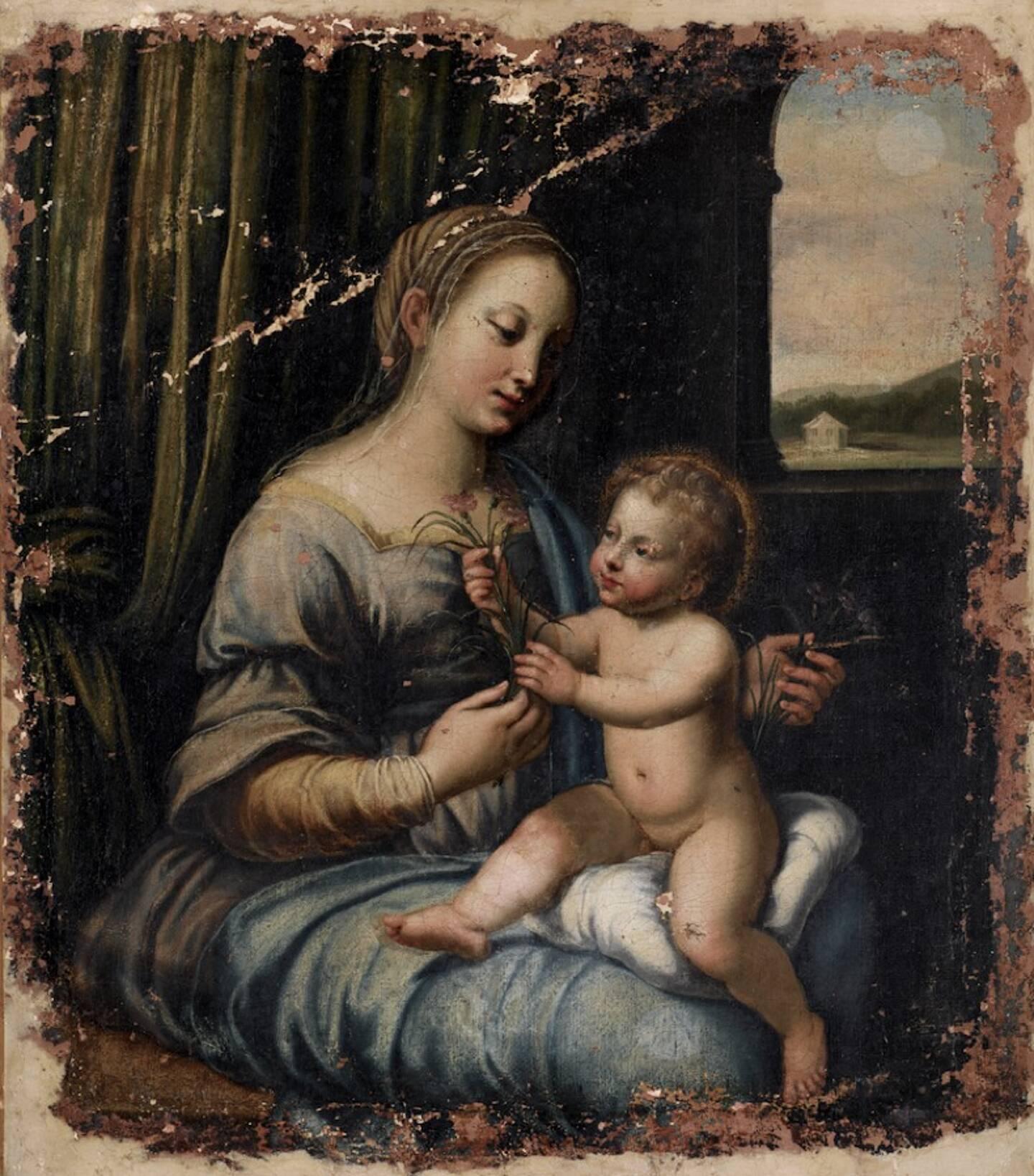 Ce tableau d'une vierge aux oeillets a séjourné durant un siècle sur la Côte d'Azur.