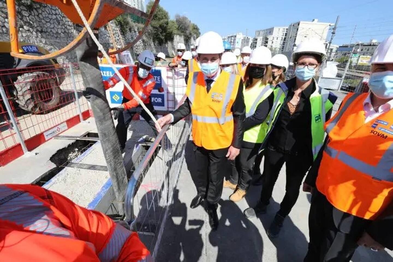 Christian Estrosi a présenté jeudi 22 avril les travaux d'aménagement de la nouvelle sortie voie Mathis à Saint-Augustin.