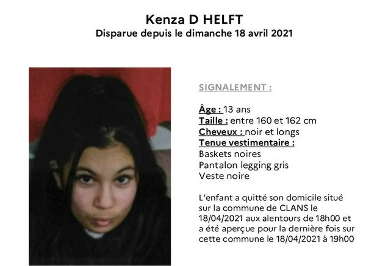 Kenza D. Helft a disparu du domicile familial, ce dimanche aux alentours de 18h