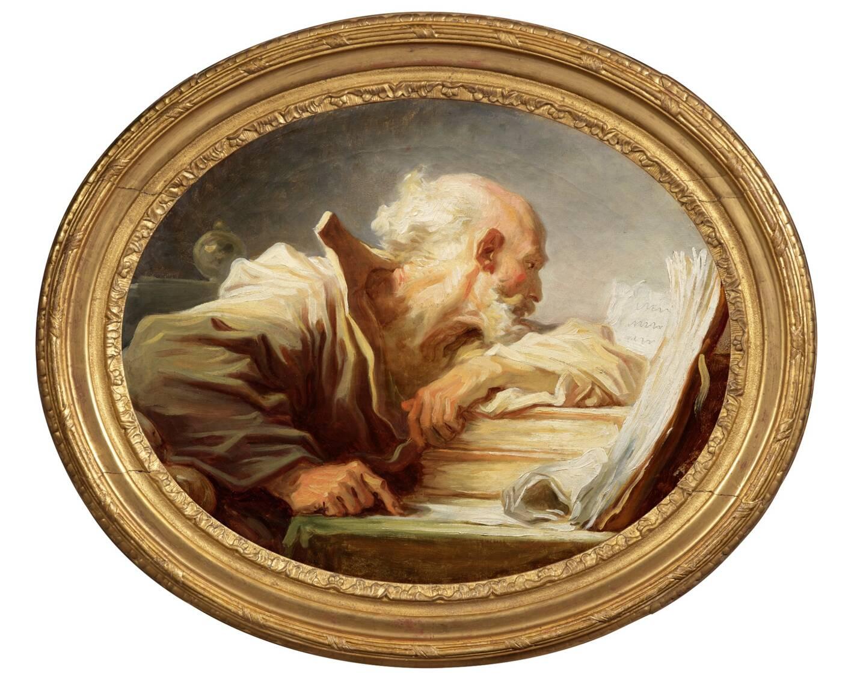 """Le chef d'oeuvre du peintre français Jean-Honoré Fragonard, le """"Philosophe lisant"""" (autour de 1768-1770), photographié à Paris, le 25 mars 2021."""