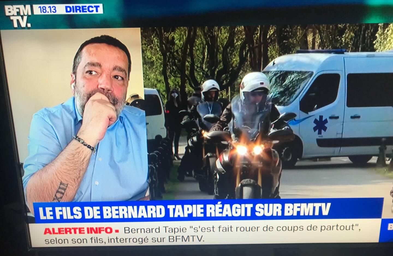 Stéphane Tapie sur l'antenne de BFM TV.