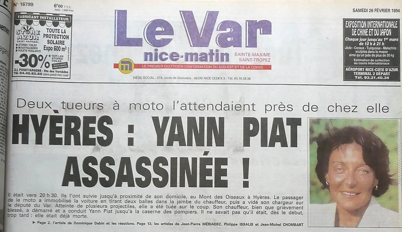 La une de Var-matin du 25 février 1994 relatant l'assassinat de Yann Piat.
