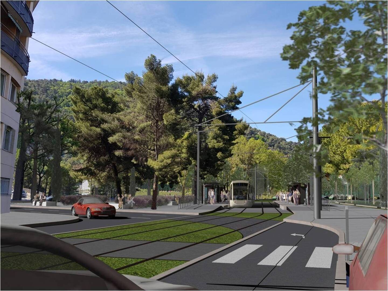 Visuel de la ligne 5 de tramway qui devrait être livrée dans sa totalité en 2027 avec une arrivée à La Trinité.