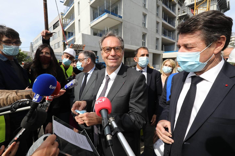 Renaud Muselier et Christian Estrosi en visite hier sur le chantier du campus des métiers à Nice. Les deux élus sont, avec le maire de Toulon Hubert Falco, à l'initiative d'une alliance avec LREM dès le premier tour.