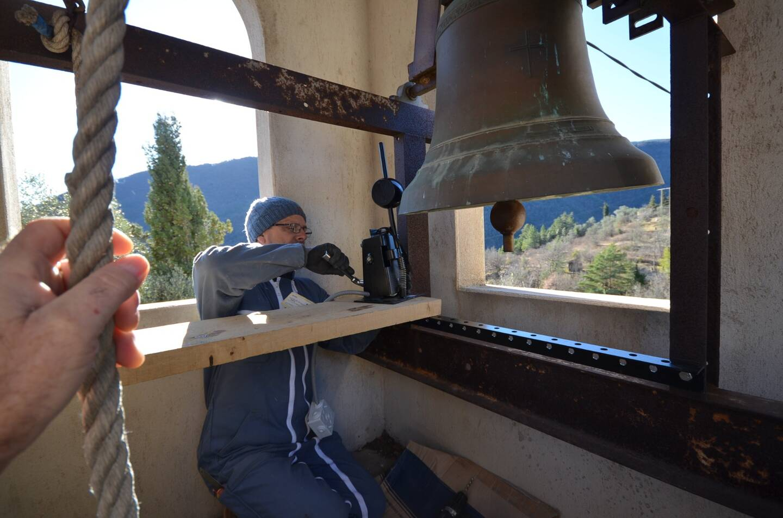 Lors de l'électrification des cloches par l'entreprise Bodet.