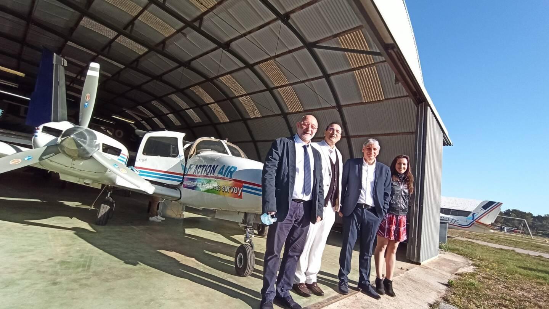 De gauche à droite: Thierry Bongiorno (vice-président de Cœur du Var), Alexis Giordana (président de la société Action air environnement), Jean-Michel Dragone (vice-président de Cœur du Var) et Coraline Moirano (chargée de mission PCAET).