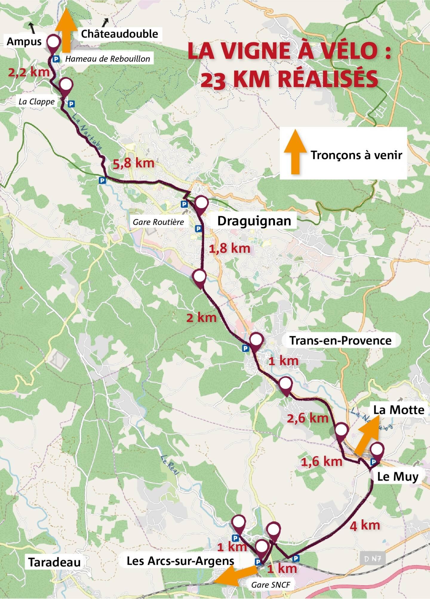 De nouveaux tronçons sont attendus notamment en direction de La Motte, Taradeau, Vidauban et Lorgues pour rejoindre la Méditerranée à Vélo (EV8) et l'itinéraire cyclo-touristique du Var.
