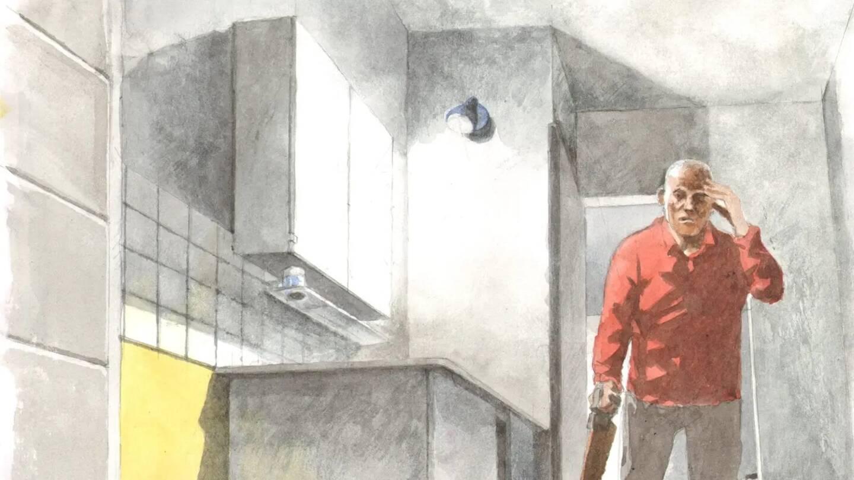 """Pour l'avocat général Elisabeth Liard, la version de Roger Haerter était """"rocambolesque"""": la victime aurait glissé dans le bac à douche de la salle d'eau et sa tête se serait cognée deux fois contre la céramique..."""