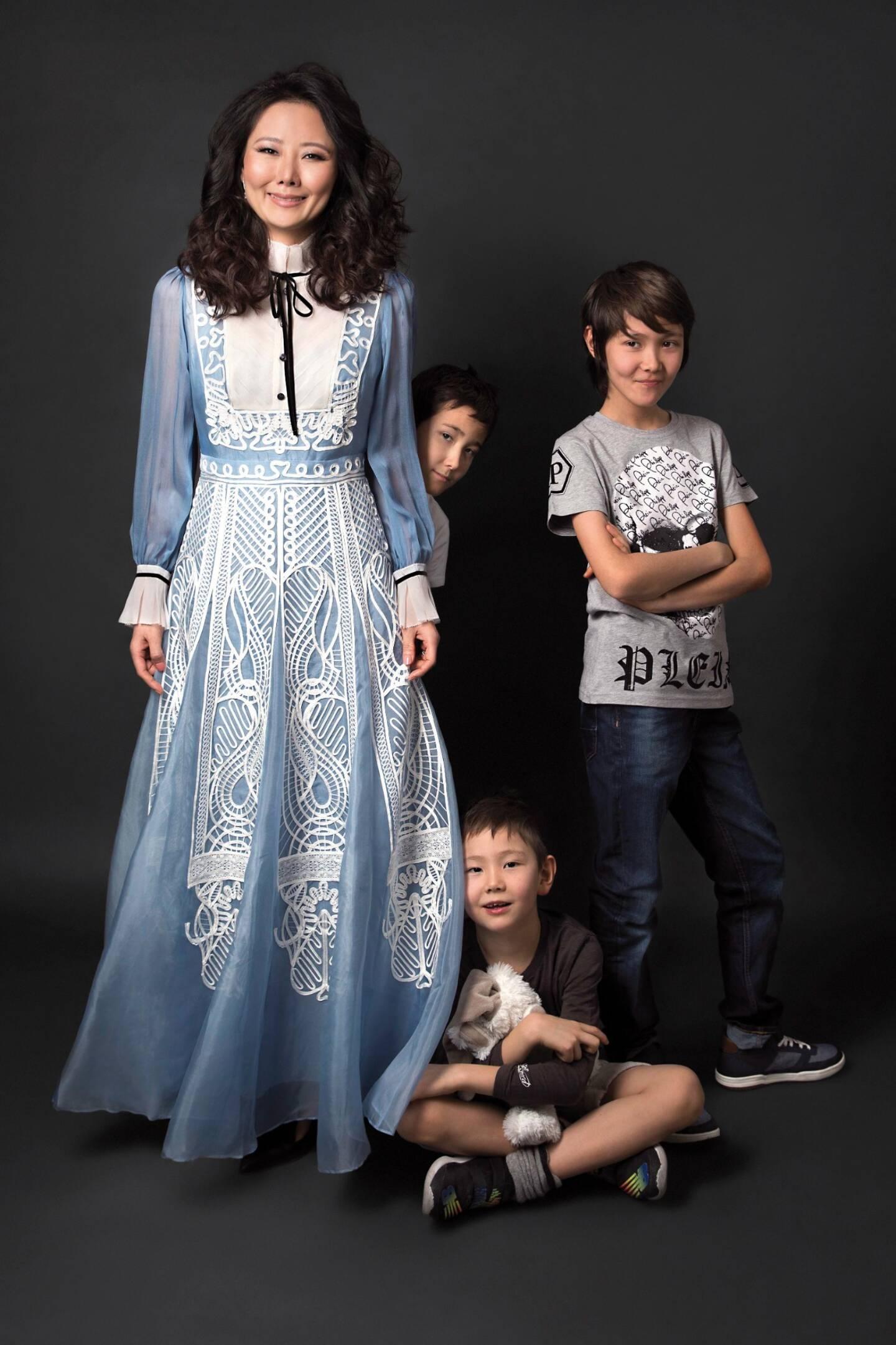Sooyun Kim, d'origine coréenne, et ses enfants.