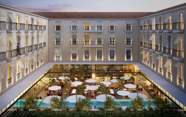 """Vue intérieure du patio du futur """"Village Garibaldi"""" avec ses terrasses et son bassin de nage."""