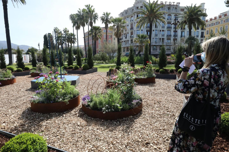 Fontaine virtuelle, roses anciennes et plantes médicinales pour un havre de paix, loin du tumulte.