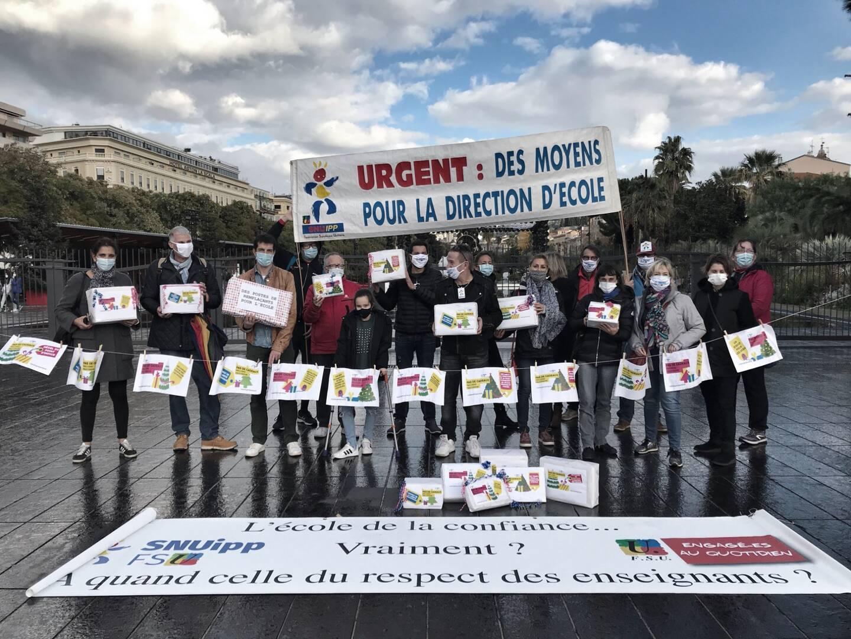 Une vingtaine de professeurs mobilisés ce mercredi à Nice.