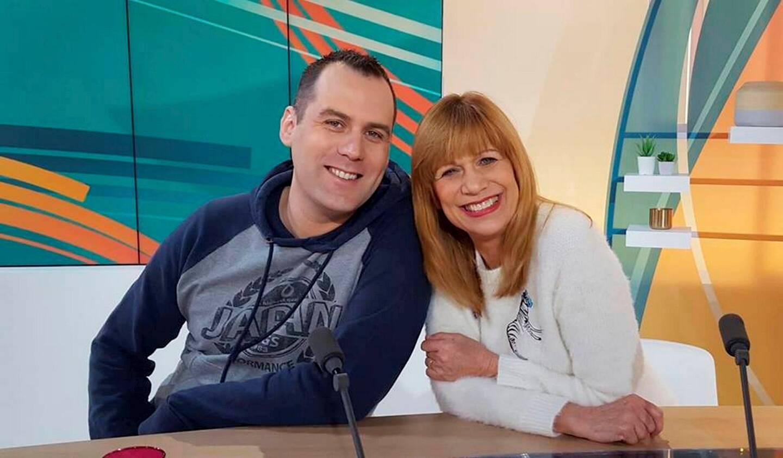 La chanteuse avec Stéphane Lamart, dont elle soutient l'action.