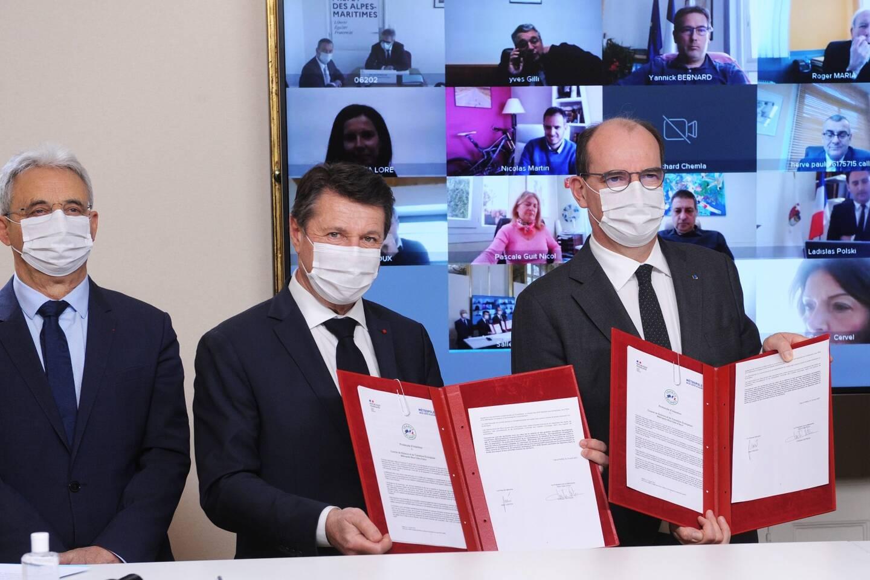 Christian Estrosi, accompagné notamment de Louis Nègre, a signé le contrat de relance et de transition écologique avec le Premier ministre, hier matin à Matignon.