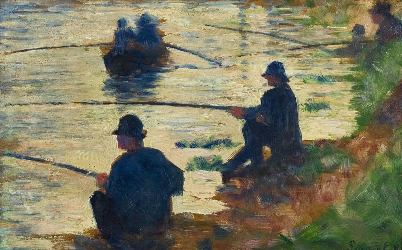 Les pêcheurs à la ligne, étude pour la Grande Jatte de Geroges Seurat, huile exposée à Troyes.