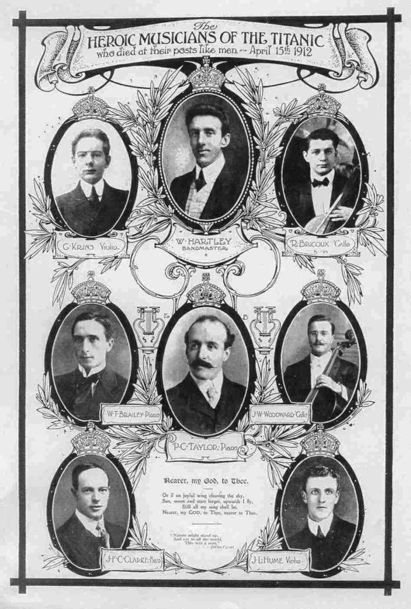 Les musiciens du Titanic (Roger Bricoux est en haut à droite)