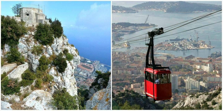 D'autres villes ont fait le choix d'une télécabine, comme ici à Toulon pour relier la ville au mont Faron.