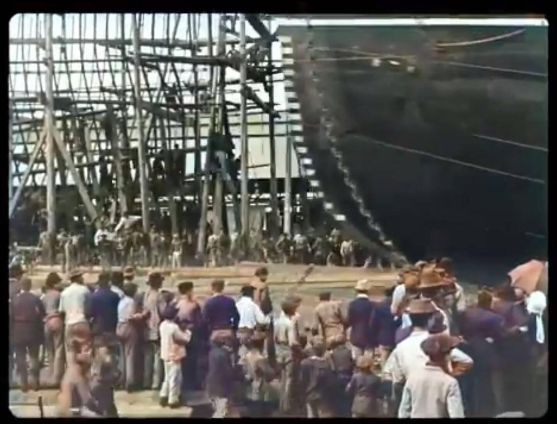 Capture du film Lancement d'un navire, tourné par les frères Lumière à La Seyne en 1896, et remastérisé cette année par le vidéaste russe Denis Shiryaev.