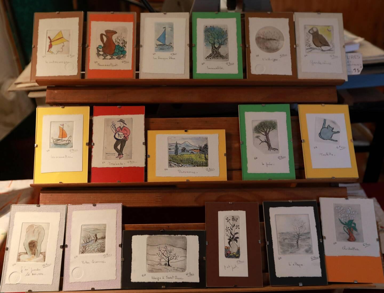 Ses gravures, uniques, prouvent toute l'étendue de son talent et sont une vitrine des différentes techniques utilisées.