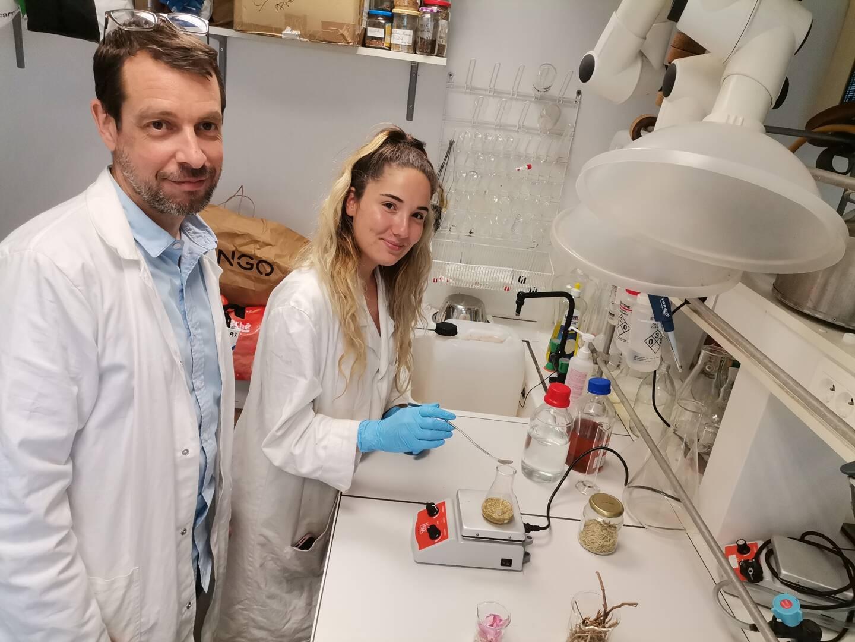 Xavier Fernandez, cofondateur de Nissactive, travaille avec Florie Kuzma, technicienne contrôle qualité, sur ces fameuses tiges de rosier aux vertus anti-âge prouvées.