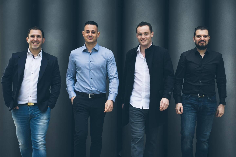 Les quatre fondateurs de Quality Referencement: Stéphane Madaleno, Benjamin Bruyère, Sandro Passafiume et Gabriel Guaiana.