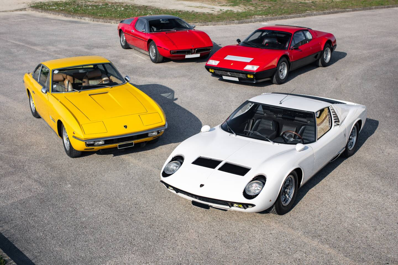 Une Lamborghini Miura P400 blanche sera également présentée à la vente, ainsi une rare Lamborghini Islero S, une Maserati Bora et une Ferrari 512 BB du même propriétaire.