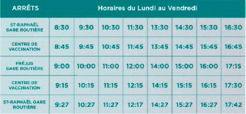 Horaire de la navette qui mène au centre de vaccination à Fréjus.