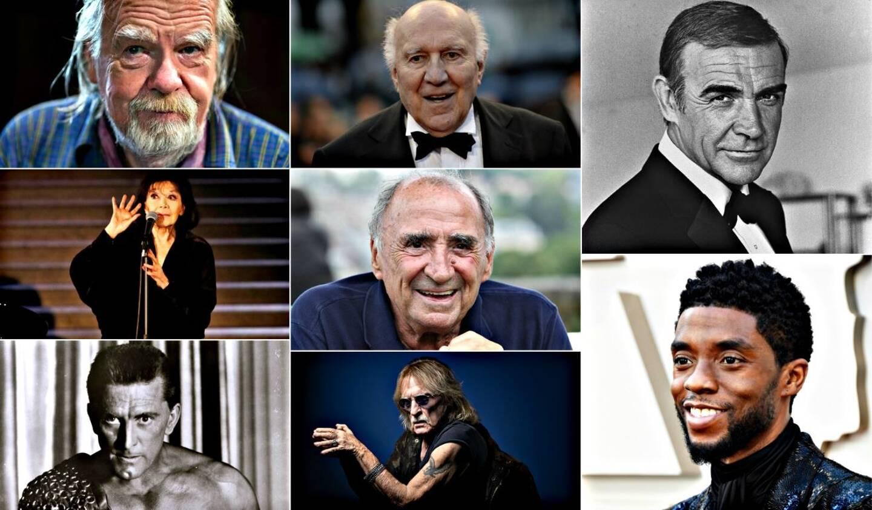 De gauche à droite et de haut en bas: Michael Lonsdale, Michel Piccoli, Sean Connery, Juliette Gréco, Claude Brasseur, Chadwick Boseman, Kirk Douglas et Christophe