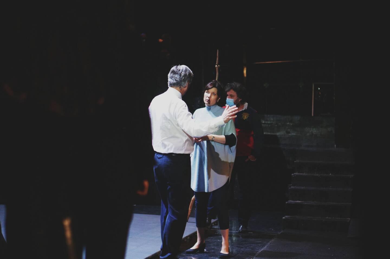 """Marina Rebeka est l'interprète de l'opéra """"Thaïs"""", qui sera joué à partir de vendredi prochain. À ses côtés, le directeur de l'Opéra Jean-louis Grinda pendant une répétition."""