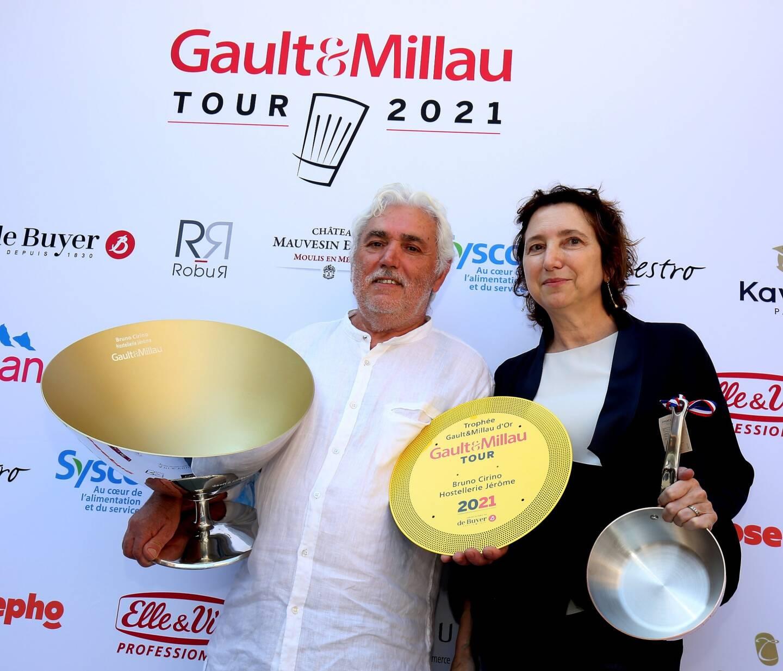 Venu de La Turbie, Bruno Cirino de l'Hostellerie Jérôme, a partagé son Gault&Millau d'or avec son épouse Marion.