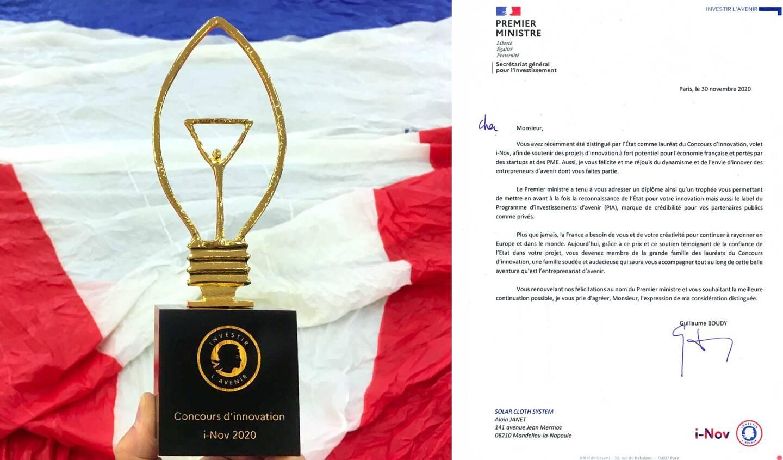 Et un nouveau trophée pour la société basée à Mandelieu-la-Napoule Solar Cloth System! Bravo à l'équipe qui innove sans cesse et fait rayonner le Sud.