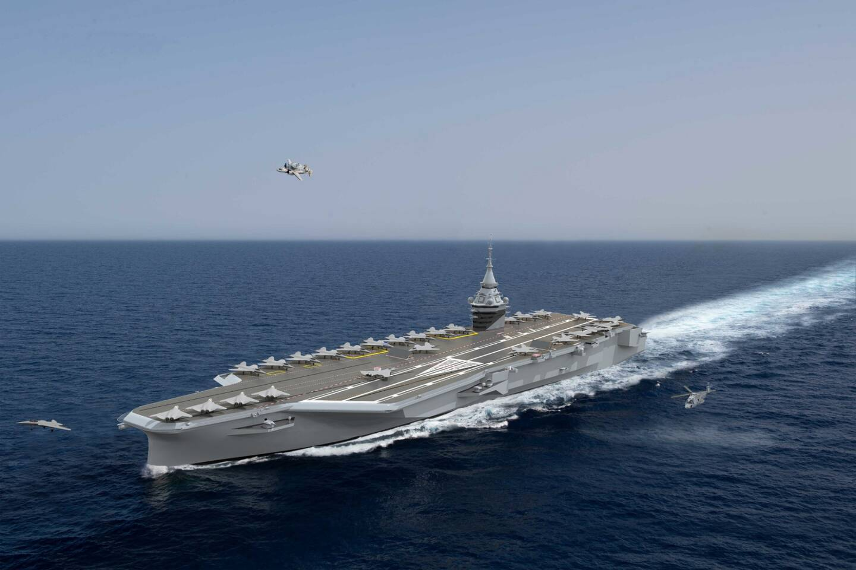 Une vue de ce à quoi pourrait ressembler le porte-avions de nouvelle génération dont l'entrée en service est prévue pour 2038.