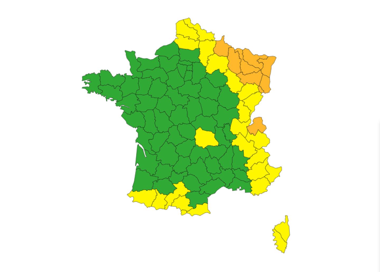 Le Var et les Alpes-Maritimes placés en vigilance jaune