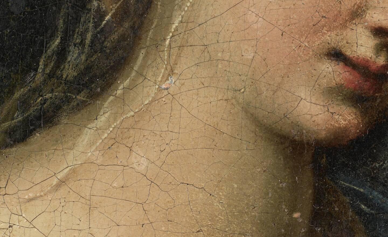 L'ombre portée de la chevelure de la madone livre des indices sur un savant jeu d'ombres et de lumières.
