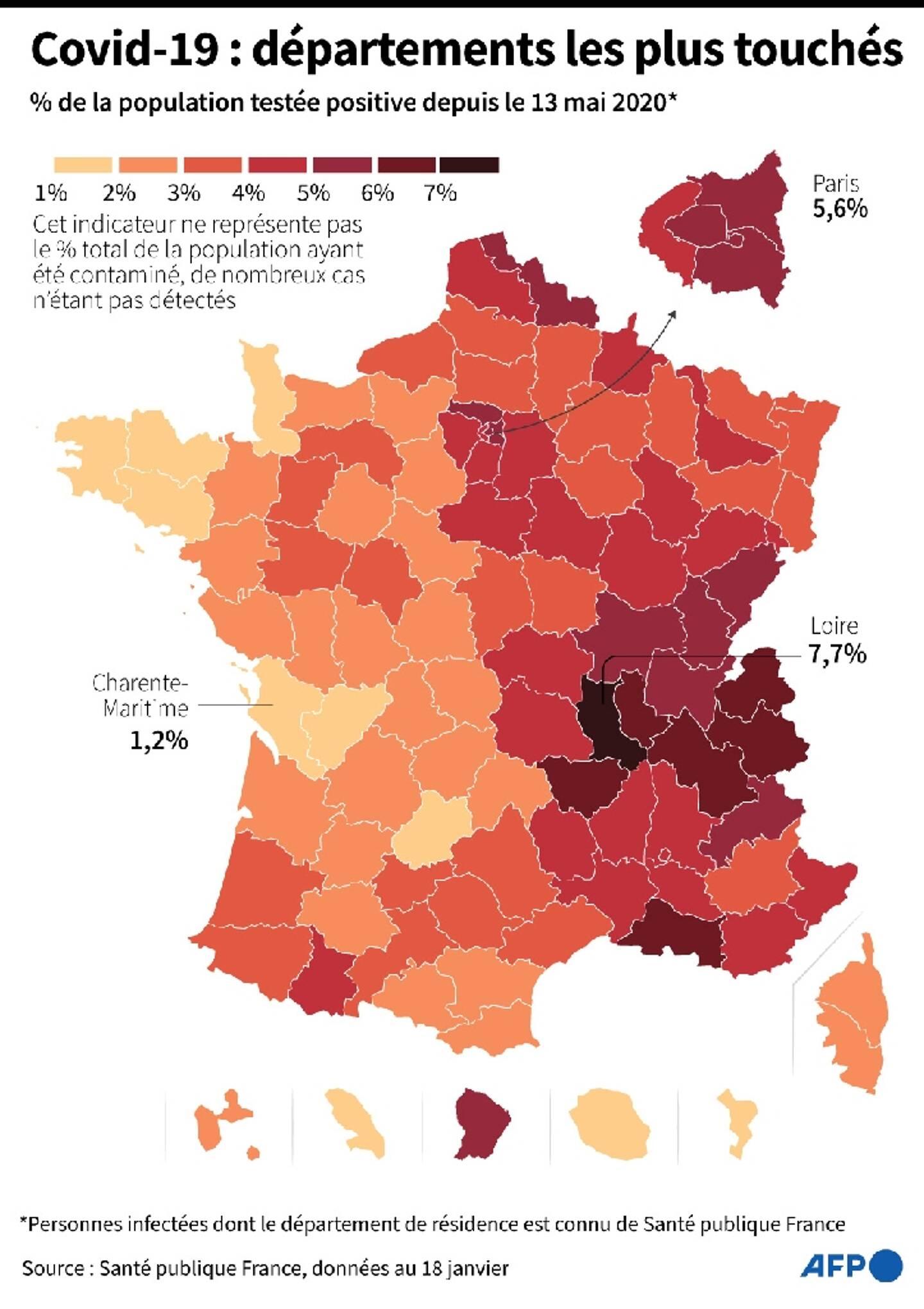 Pourcentage de la population testée positive au coronavirus, par département, au 18 janvier 2021