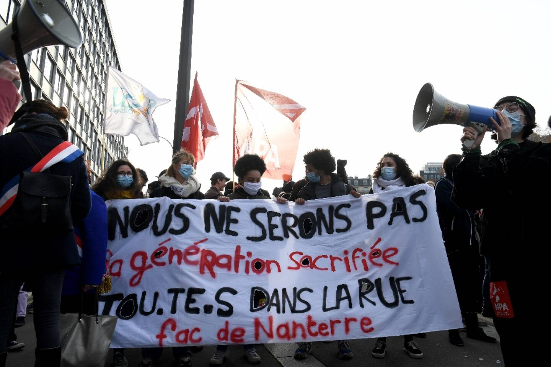 Manifestation d'étudiants contre la précarité le 20 janvier 2021 à Paris