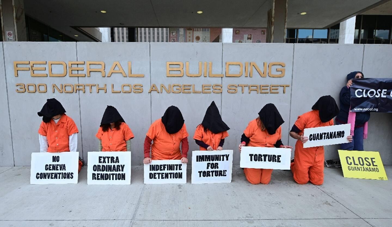 Manifestation pour la fermeture de la prison de Guantanamo, le 11 janvier 2019 à Los Angeles