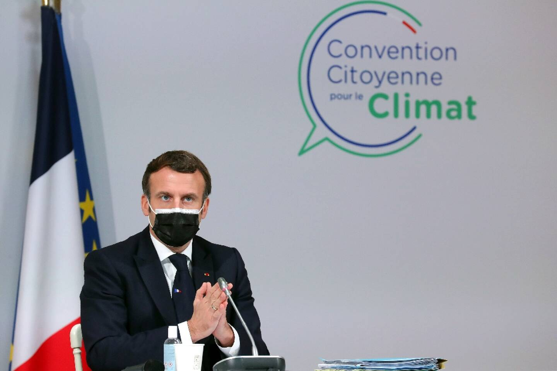 Le président Emmanuel Macron lors d'une réunion avec les membres de la Convention citoyenne sur la climat, le 14 décembre 2020 à Paris