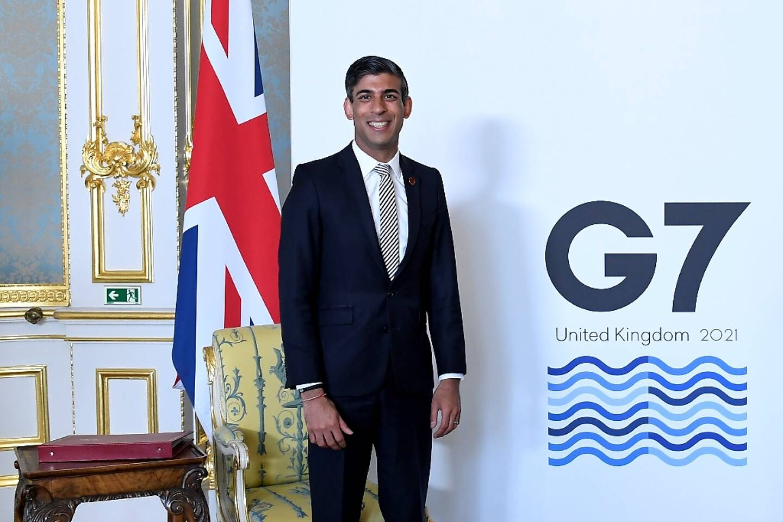 Le ministre britannique des Finances Rishi Sunak, le 5 juin 2021 à Londres, au deuxième jour du G7 Finances