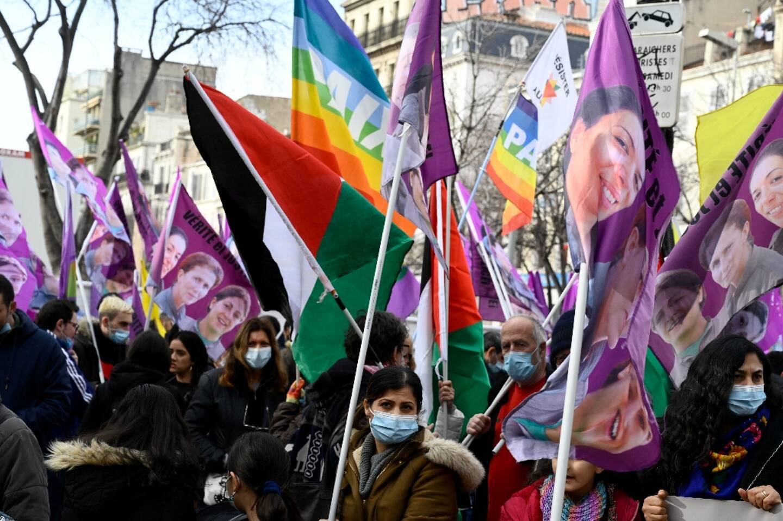 Manifestation à Marseille pour rendre hommage à trois militantes kurdes assassinées en 2013 à Paris et réclamer justice dans cette affaire jamais jugée, le 9 janvier 2021