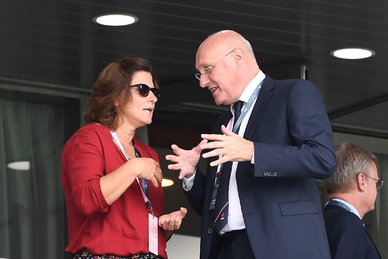 La ministre des Sports Roxana Maracineanu et le président de la Fédération française de rugby Bernard Laporte avant le match de Coupe du monde France-Argentine le 21 septembre 2019 à Tokyo