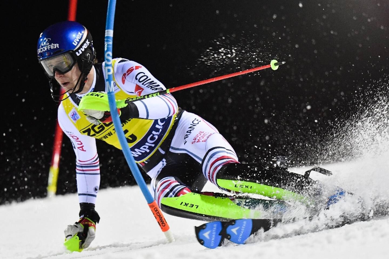 Le Français Clément Noël, lors de la 1ère manche du slalom de Coupe du monde, le 22 novembre 2020 à Madonna di Campiglio