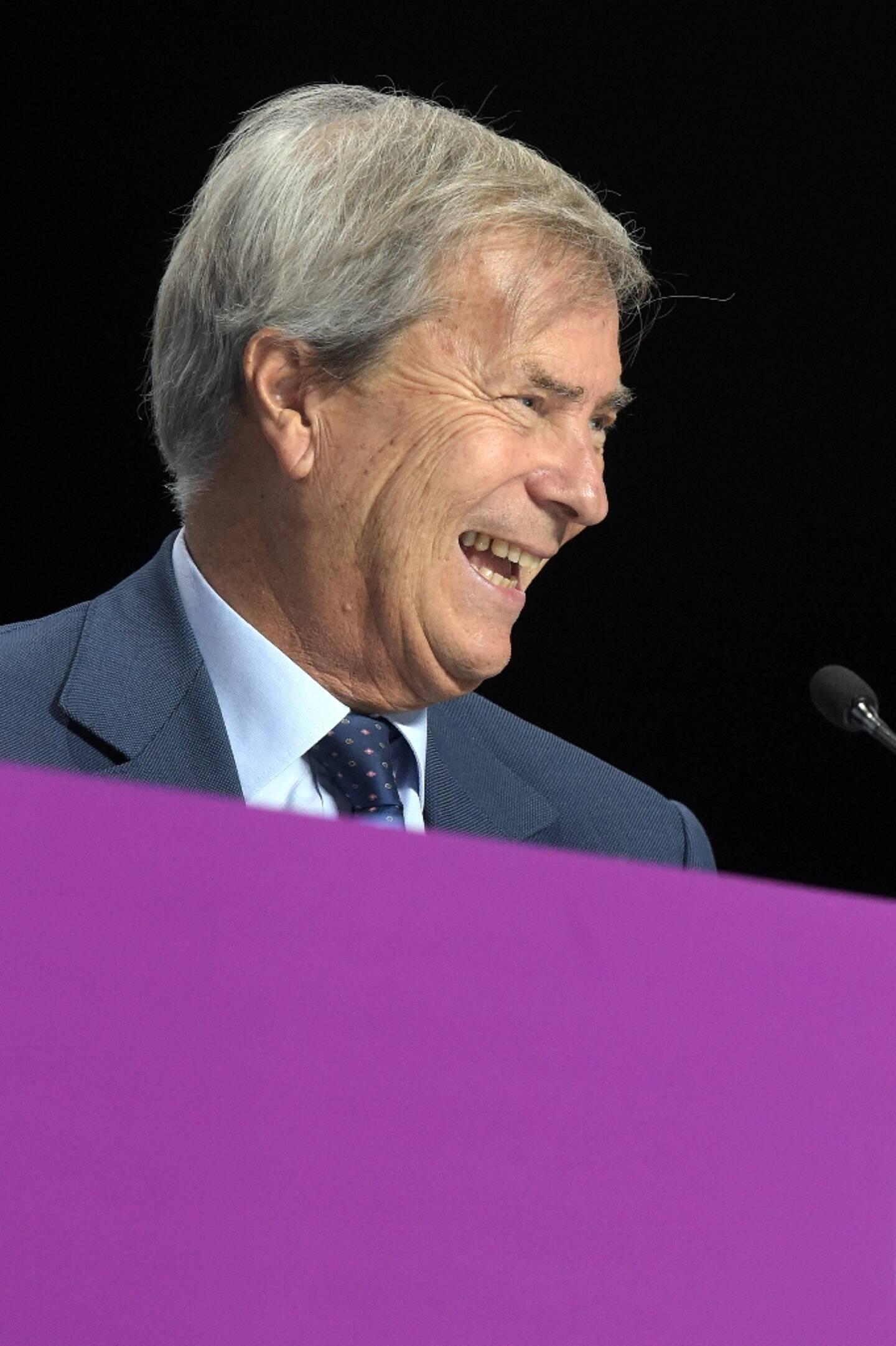 Vincent Bolloré lors d'une assemblée générale du groupe Vivendi, le 19 avril 2018 à Paris